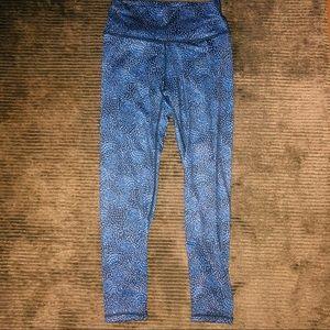Blue floral workout leggings